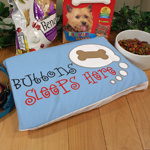 Personalized Sleeps Here Dog Pillow