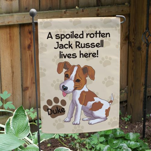Personalized Jack Russell Spoiled Here Garden Flag 8306641JR2