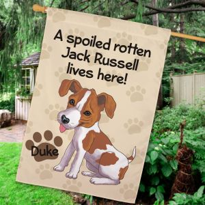Personalized Jack Russell Spoiled Here House Flag