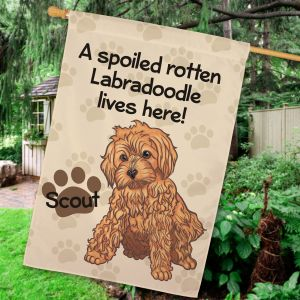 Personalized Labradoodle Spoiled Here House Flag