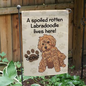 Personalized Labradoodle Spoiled Here Garden Flag 8306641LD2