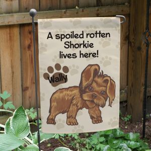 Personalized Shorkie Spoiled Here Garden Flag