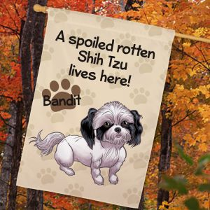 Personalized Shih Tzu Spoiled Here House Flag