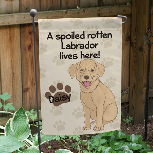Personalized Yellow Lab Spoiled Here Garden Flag 8306641YLB2