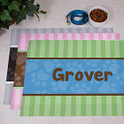 Personalized Modern Stripes Dog Food Mat