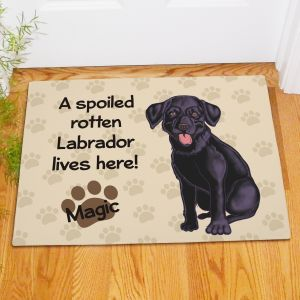 Personalized Black Lab Spoiled Here Doormat
