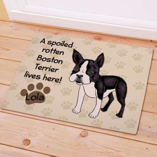 Personalized Boston Terrier Spoiled Here Doormat 8316641BT7X