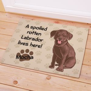 Personalized Chocolate Lab Spoiled Here Doormat