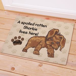 Personalized Shorkie Spoiled Here Doormat