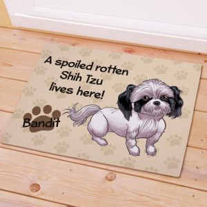 Personalized Shih Tzu Spoiled Here Doormat | Personalized Doormats