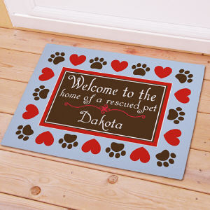 Personalized Home of a Rescued Pet Doormat