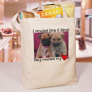 Personalized Rescued Pet Photo Tote Bag