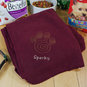 Embroidered Paw Print Pet Blanket