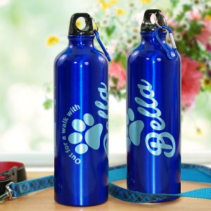 Engraved Walk With My Dog Water Bottle
