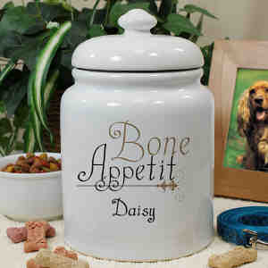 Personalized Ceramic Bone Appetit Treat Jar