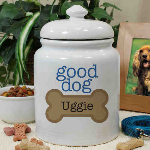 Personalized Ceramic Good Dog Treat Jar U659315