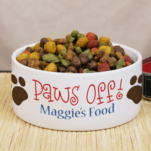 Personalized Paws Off Ceramic Dog Bowl U660614