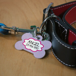 Personalized Diamonds Dog Bone Tag