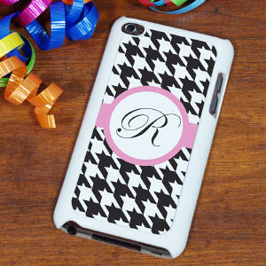 Personalized iPod Touch 4 Case - Houndstooth Design