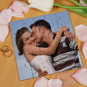 Picture Perfect Personalized Photo Square Wood Jig Saw Puzzle | Personalized Photo Gifts