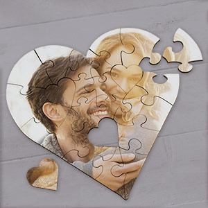 Picture Perfect Personalized Photo Heart Shaped Wood Jig Saw Puzzle