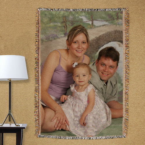 Personalized Family Photo Tapestry Throw Blanket | Mother's Day Gifts