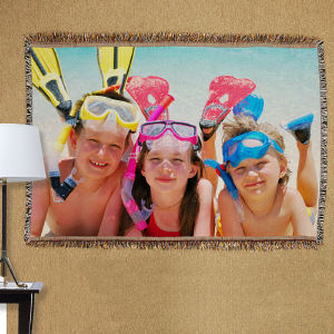 Summer Vacation Photo Tapestry Throw Blanket