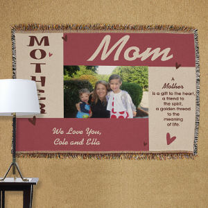 Personalized Mother Photo Tapestry Throw Blanket