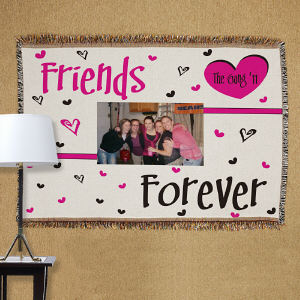 Personalized Friends Forever Photo Tapestry Throw Blanket