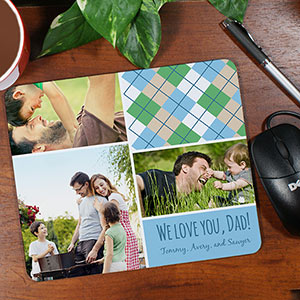 Personalzied Dad Plaid  Photo Collage Mousepad 898799