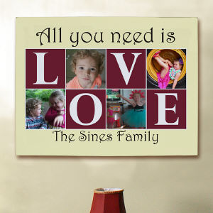 Personalized All You Need Is Love Collage Canvas
