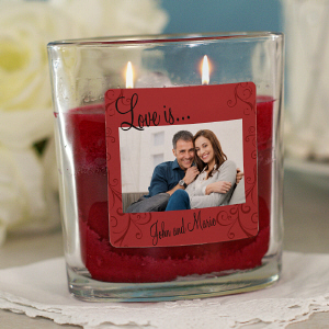 Personalized Love Is Photo Candle