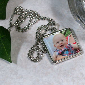 Picture Perfect Baby Photo Square Frame Necklace
