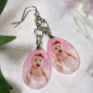 Picture Perfect Baby Photo Crystal Earrings