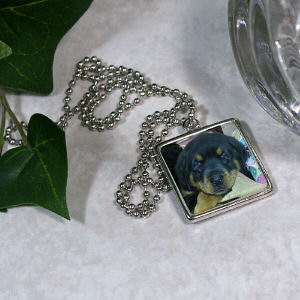 Picture Perfect Pet Photo Square Frame Necklace