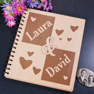 Engraved Couple's Wood Photo Album