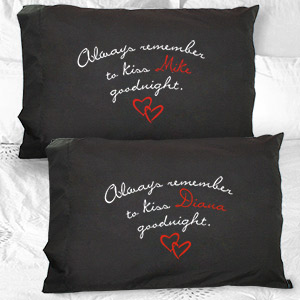 Personalized Always Kiss Goodnight Black Pillowcase