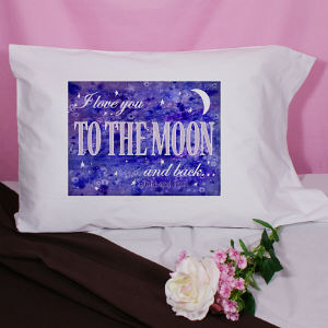 Personalized I Love You to the Moon Pillowcase