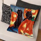 Personalized Cat And Pumpkin Throw Pillow