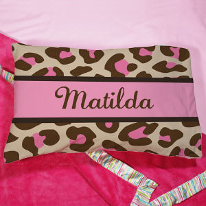 Personaized Pink Leopard Print Pillow