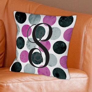 Monogrammed Throw Pillow-Polka Dot Throw Pillow