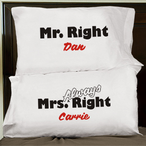 Mr. and Mrs. Right Pillowcase Set