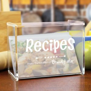 Engraved Kitchen Recipe Acrylic Recipe Box | Recipe Card Box