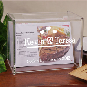Engraved Cookin Up Love Acrylic Recipe Box