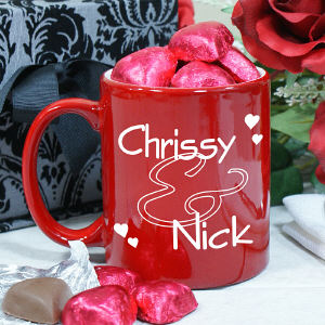 Personalized Couples Two-Toned Coffee Mug w/Choc Hearts