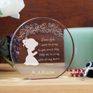 Engraved Girl's Prayer Keepsake