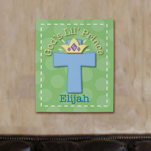 Personalized God's Lil' Prince Wall Canvas
