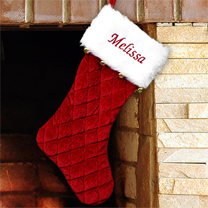 Embroidered Red Quilted Stocking with Bells S105679