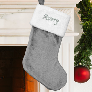Embroidered Gray Plush Stocking | Personalized Christmas Stockings