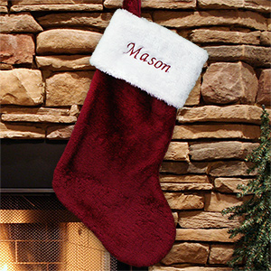 Embroidered Burgundy Plush Stocking